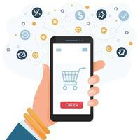 compras en línea en teléfonos inteligentes vector