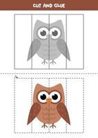 juego de cortar y pegar para niños. búho de dibujos animados. vector