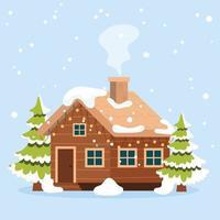 Winter house illustration vector