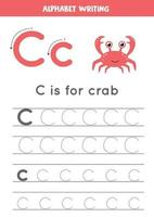 Tracing alphabet letter C with cute cartoon crab. vector
