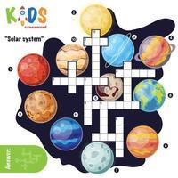 Solar system crossword puzzle vector