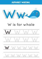 W is for whale. Tracing English alphabet worksheet. vector