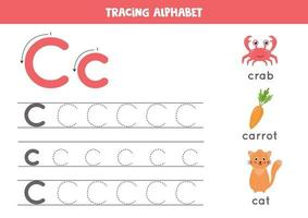 C is for cat, crab, carrot. Tracing English alphabet worksheet. vector