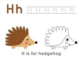 Página para colorear y calcar con la letra h y un lindo erizo de dibujos animados. vector