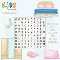 In the bedroom word search crossword vector