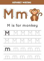 Tracing English alphabet. Letter M is for monkey. vector