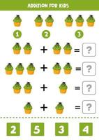 Addition game for kids. Cute Halloween muffin. vector