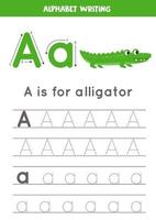 Tracing alphabet letter A with cute cartoon alligator. vector
