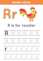 Handwriting practice with alphabet letter. Tracing R. vector