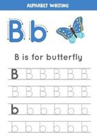 Handwriting practice with alphabet letter. Tracing B. vector