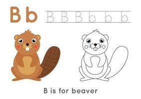 Página para colorear con la letra b y el castor de dibujos animados lindo. vector