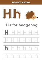 Tracing alphabet letter H with cute cartoon hedgehog. vector