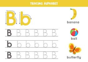 Tracing alphabet letter B with cute cartoon pictures. vector