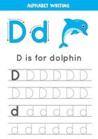 D is for dolphin. Tracing English alphabet worksheet. vector