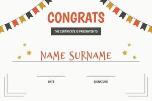 plantilla de certificado de felicitaciones vector