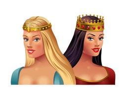 princesa rubia y morena con coronas sobre un fondo blanco. ilustración vectorial vector