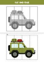 juego de cortar y pegar para niños. coche de safari de dibujos animados. vector
