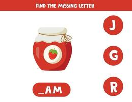 Find missing letter with cartoon jar of strawberry jam. vector