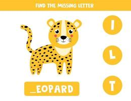 Find missing letter and write it down. Cute leopard. vector