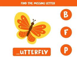 Find missing letter and write it down. Cute cartoon butterfly. vector