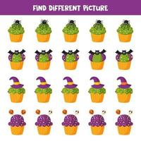 Find different picture of Halloween cupcake. Game for kids. vector