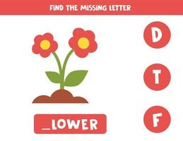 Find missing letter with cute cartoon flowers. vector
