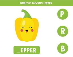 Find missing letter with cute cartoon pepper. vector