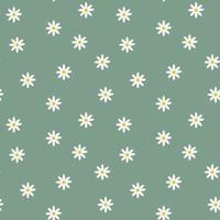 Stylish seamless deep green background with chamomile flowers. Floral modern print. Great for fabric, wallpaper, textile, wrapping. Vector simple template.