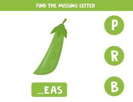 Find missing letter and write it down. Cute cartoon green peas. vector