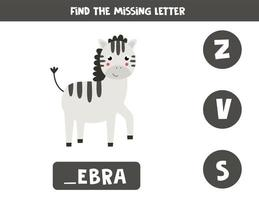 Find missing letter with cute cartoon zebra, vector