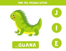 Find missing letter and write it down. Cute iguana. vector