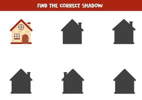 Find shadow of cute cartoon brick house. vector