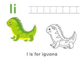 Página para colorear con la letra i y la iguana de dibujos animados lindo. vector