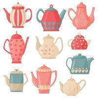 Conjunto de vector plano de ilustración de dibujos animados de tetera de cocina. utensilios de cocina.