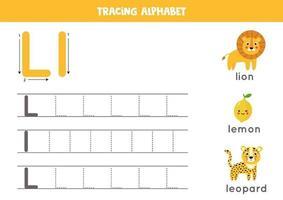 práctica de escritura a mano con letra del alfabeto. rastreo l. vector