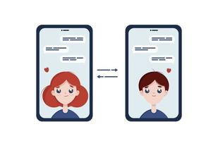 amor virtual, ilustración plana de citas en línea. pareja, amor, citas, amor virtual, amistad ilustración vectorial plana vector