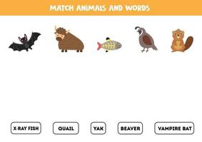 Matching words game with cute animals. Educational game. vector