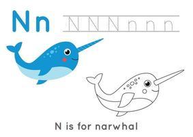 Página para colorear con la letra n y narval de dibujos animados lindo. vector