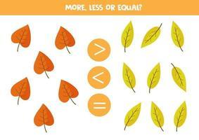 más, menos, igual que las hojas de otoño de dibujos animados. vector