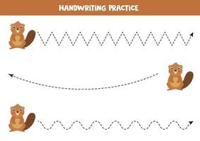 Tracing lines with cute carton beaver. Handwriting practice. vector
