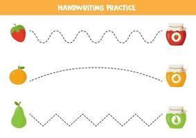 práctica de escritura a mano para niños. lindos frascos de mermelada y frutas de dibujos animados. vector