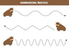Tracing lines with cute cartoon yak. Handwriting practice. vector