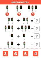 Addition worksheet with cartoon traffic lights. Math game. vector