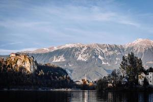 Lake Bled in the Alpine mountains photo