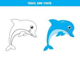 trazar y colorear lindo delfín. hoja de trabajo para niños. vector