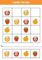 juego de sudoku con coloridos frascos de mermelada con frutas. vector
