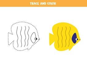 Traza y colorea lindos peces de mar. hoja de trabajo para niños. vector