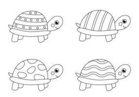 tortugas de color blanco y negro. página para colorear para niños. vector