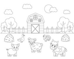 Color farm animals in field. Coloring page for kids. vector