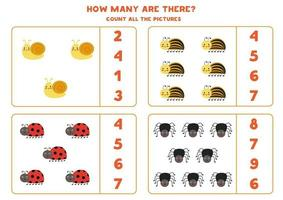 Count all cute insects and circle the correct answers. Math game for kids. vector